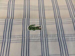 100-authentique-Devanlay-LACOSTE-manches-courtes-chemise-a-carreaux-en-taille-45-XXL-fantastique