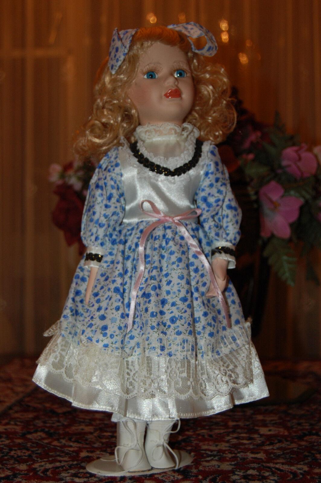 German Porcelain Doll Floral Dress 40 CM NEW in Box