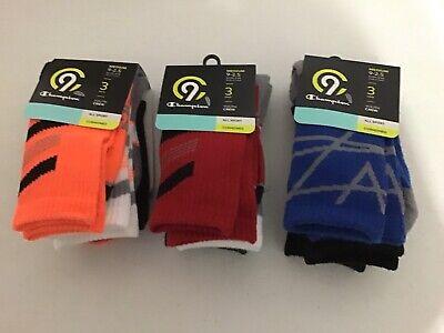 Champion C9 6 Pair All Sport Cushioned Youth Crew Socks Medium 9-2.5 Shoe Size