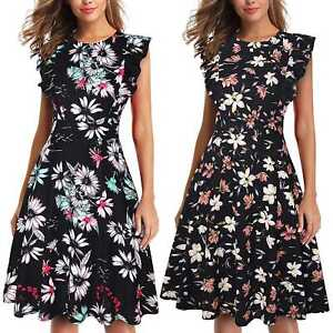 Women's Vintage Ruffle Floral Flared A Line Swing Casual Cocktail Party Dresses