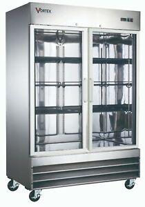 VORTEX-Commercial-2-Glass-Door-Reach-In-Refrigerator-Stainless-Steel-47-Cu-Ft