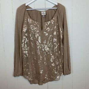 Knox-Rose-Womens-XL-Blouse-Top-Floral-Sequins-Long-Sleeves-Split-Neck-Tan