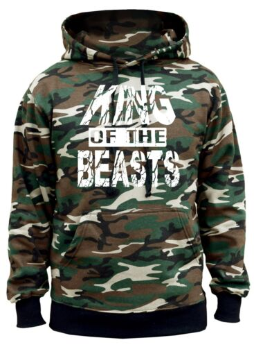 Men/'s King Of The Beasts Camo Hoodie Fitness Bodybuilding Gym Workout Weights