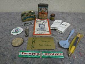 Lot-of-Vintage-Advertising-Items-Planters-Peanuts-Baseball-Camel-Tins