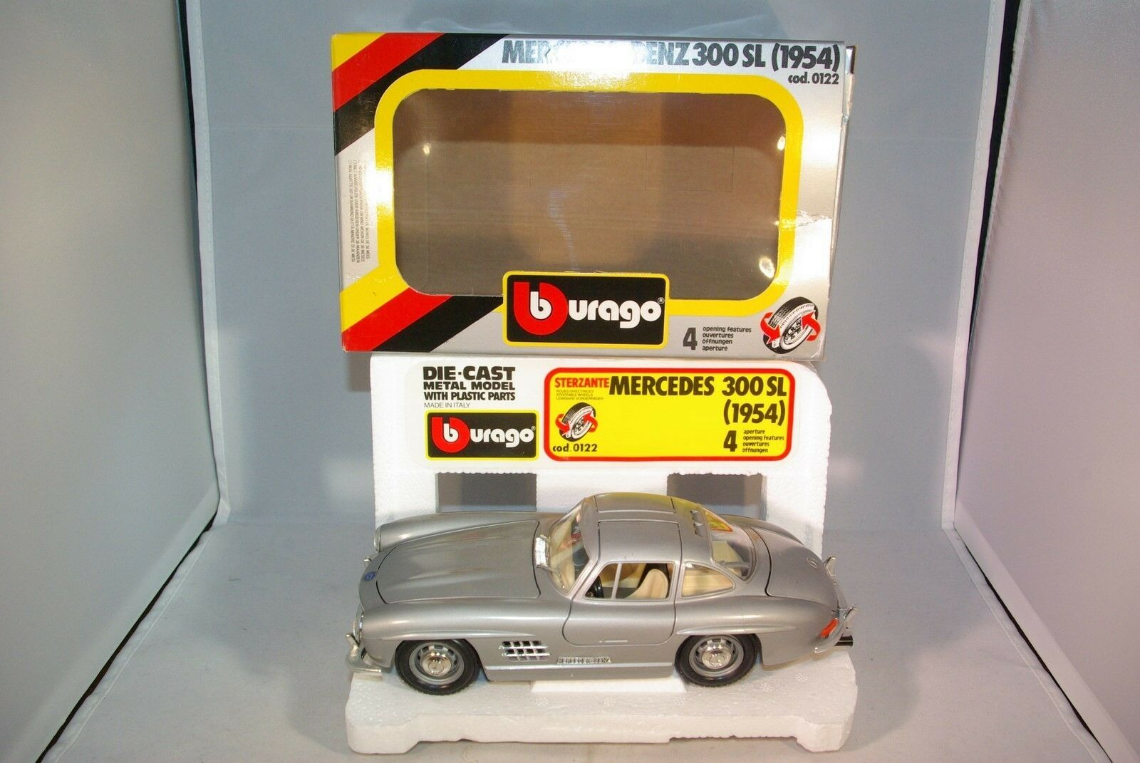 BBURAGO BURAGO 122 MERCEDES BENZ 300SL 300 SL 1954 GREY MINT BOXED RARE SELTEN