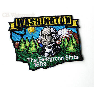 US WASHINGTON STATE NAME MAP EMBROIDERED PATCH 3 INCHES
