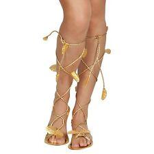 Ladies Roman Greek Gold Sandals Egyptian God Goddess Toga Shoes Cleopatra Leaves