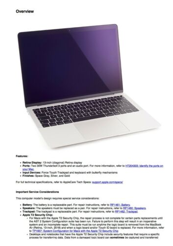 MacBook Air Retina 13-inch 2018 Service Manual Guide for Repairing//Reassembling