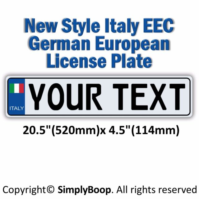italian italy european eec aluminum license plate custom