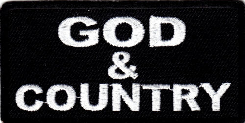 """/""""GOD /& COUNTRY/"""" Iron On Patch Religious Saying Patriotic"""