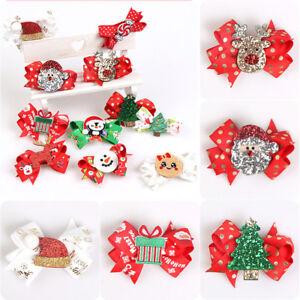 Cute-Christmas-Elk-Tree-Snowman-Hair-Clips-Hairpin-Hair-Bows-Kids-Girl-Xmas-Gift