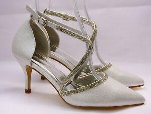 Zapatos de Tacón Elegantes Novia Blanco Con Plateadas Shimmer Y Brillo 6324 -115