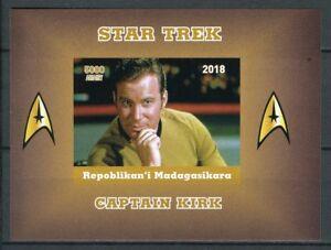 Madagascar 2018 MNH Star Trek Captain Kirk Shatner 1v Impf Deluxe S/S Stamps