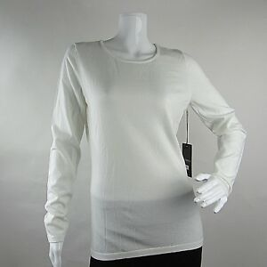 Rondina-Designer-Womens-Pullover-Top-Tee-Long-Sleeves-Boat-Neck-White-Size-M