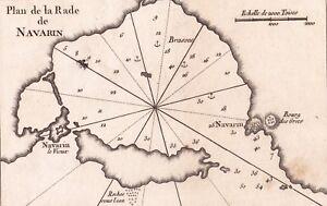 Gravure-XVIIIe-Navarin-Navarino-Pylos-Grece-Greece-Baie-Bay-1764