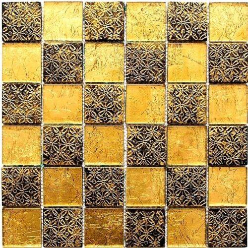 Glasmosaik Noir Or Mix Resin Mur Cuisine WC salle de bain art:wb88-8op71 de coffre