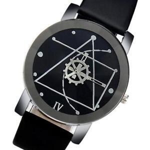 Mode-Herren-Uhren-Edelstahl-Leder-Analog-Quartz-Armbanduhr-NEU