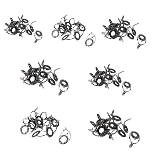 70Pcs Stainless Steel Sea Fishing Rod Guide Tip Eye Rings Tackle Accessories