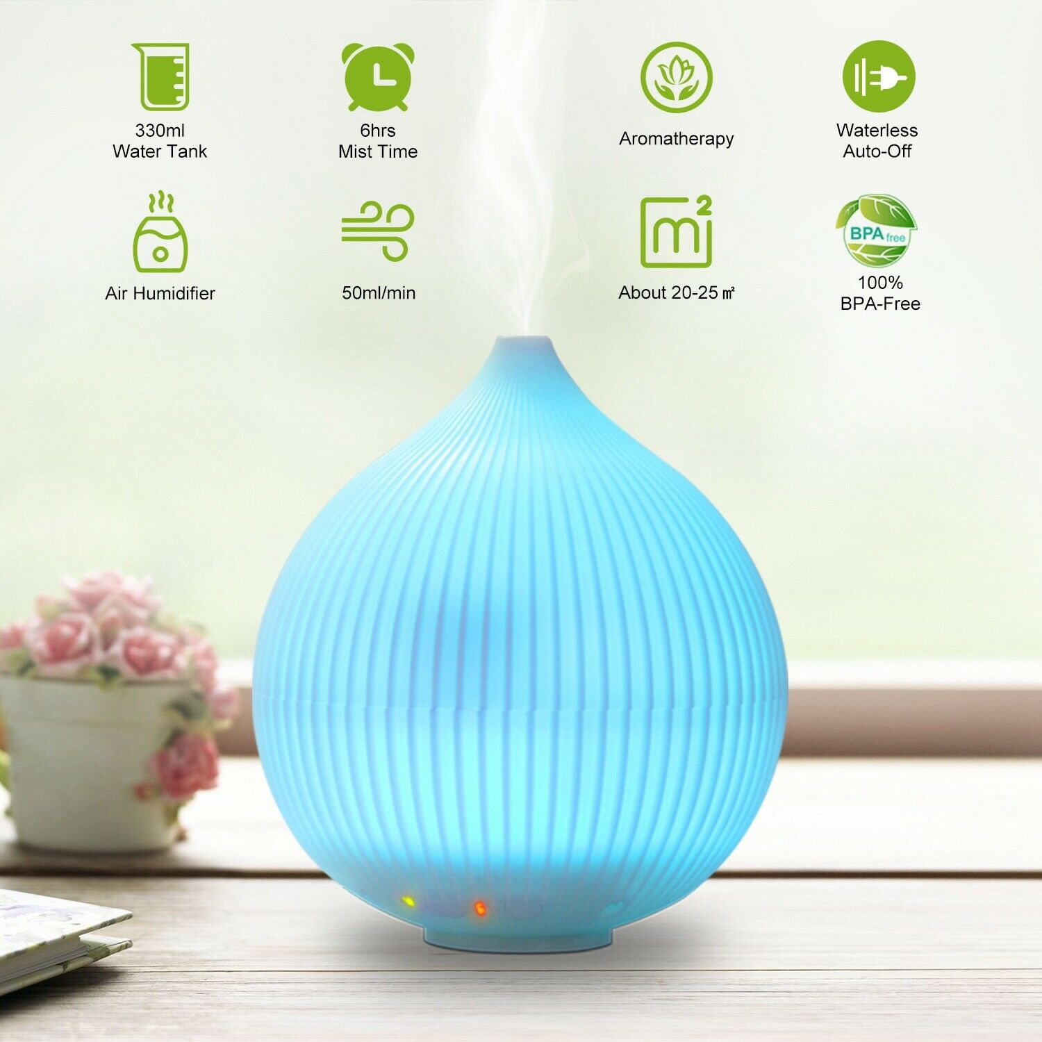 300ML Aroma Air 7 LED Essential Oil Diffuser Ultrasonic Aromatherapy Humidifier