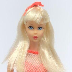 Vintage-Barbie-TNT-GORGEOUS-Platinum-Blonde-Mod-Orange-Swimsuit-OSS-Japan