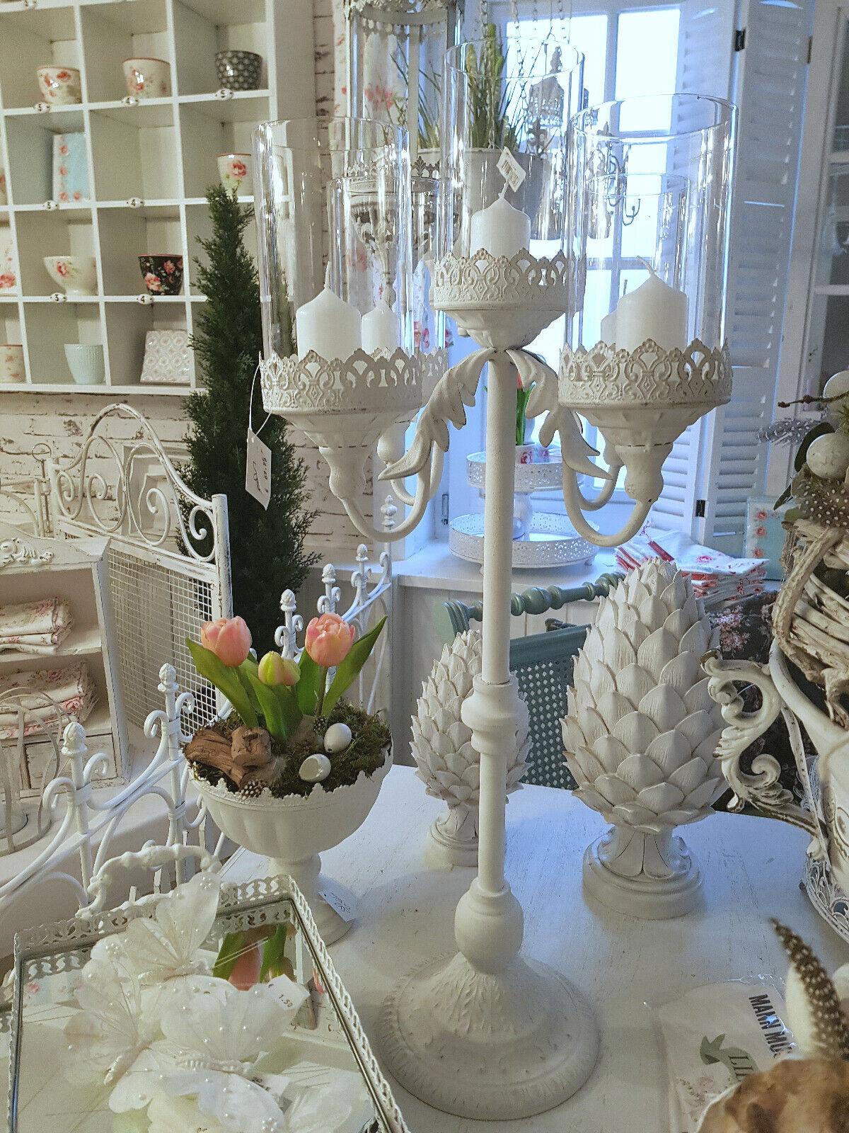 Kerzenleuchter Girandole Metall Antik Weiß Shabby Vintage Nostalgie Landhaus