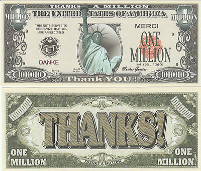 FREE SLEEVE Colorized Statue Liberty Million Dollar Funny Money Novelty Note