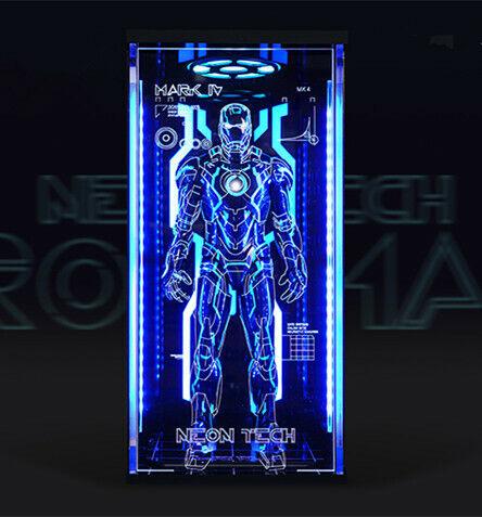 MARVEL Neón Tech Iron Man Mark IV caso de exhibición sólo 1 6 Exclusivo Tipo B