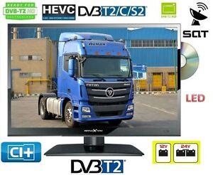 LED-TV-Fernseher-DVD-16-034-40cm-DVB-C-S2-T2-220V-12-24-Volt-LKW-Truck-Boot-15-6-034