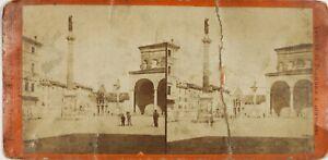 Italia Piazza Bologna Domenico Foto Stereo Danneggiata Vintage Albumina