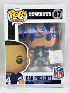 Dak Prescott Signed Cowboys Funko Pop Blue Jersey Figurine-Beckett W Auth *Blue