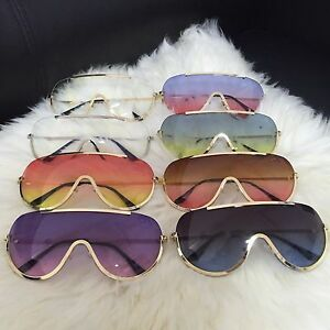 OVERSIZED Rimless HUGE BIG VINTAGE RETRO MASK SHIELD Aviator Style Sunglasses