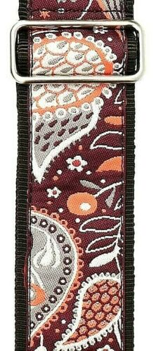 "Gaucho Guitar Strap Purple//Orange//Grey 2/"" Wide Paisley Style Jacquard Weave"