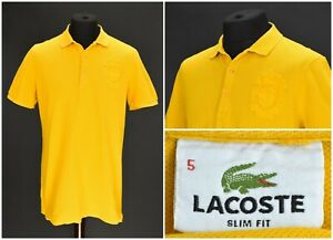 Mens-Lacoste-Orange-Polo-Shirt-Collared-Cotton-Short-Sleeve-Slim-Fit-Size-5-XL