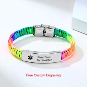 Women Men Personalized Medical Alert ID Bracelet Braided Wristband Free Engraved