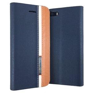 Slim-Designer-Apple-iPhone-SE-5-5S-Folio-Wallet-Protector-Case-Cover-Blue-Brown