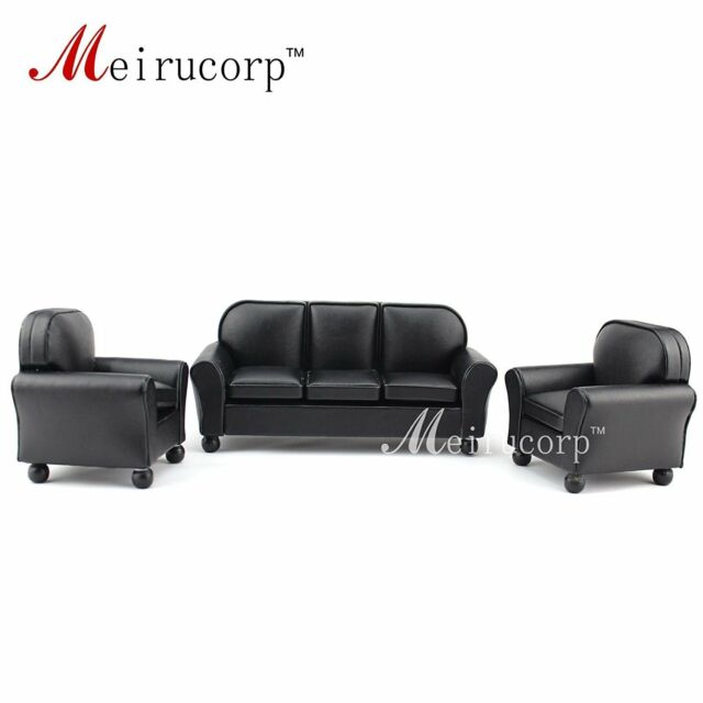 Prime Dollhouse Furniture 1 12 Scale Miniature Black Leather Sofa And Chair 3 Pcs Set Ibusinesslaw Wood Chair Design Ideas Ibusinesslaworg