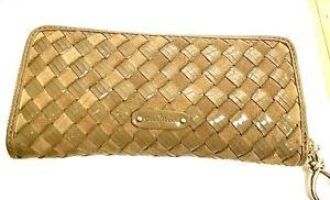 Cole-Haan-Patent-Leather-Suede-Woven-Intrecciato-Zip-Wallet-Organizer-Tan-MINT