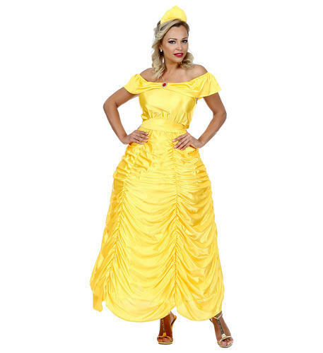 Womens Ladies Yellow Princess Queen Belle Adult Fancy Dress Costume Outfit M