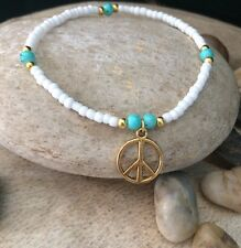 White Gold Turquoise Seed Bead Peace Symbol Surfer Stretch Bracelet