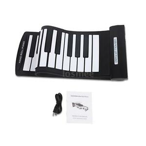 Electronic Keyboard Hand Roll Piano 61 Keys Flexible Roll-Up Piano USB MIDI E4B0