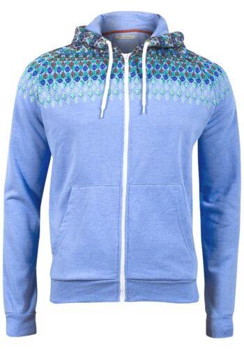 BraveSoul Mens Blue Beige Marl Zip Up Hoody Hoodie Jacket Jumper Size S M L A4