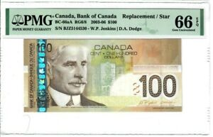 """Canada $100 Banknote 2003-06 BC-66aA PMG GEM UNC 66 EPQ """"Replacement / Star"""""""