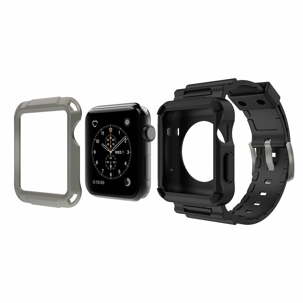 sports shoes 8e9da 9638d Simpeak Apple Watch 3 Band Grey Rugged Protective Case W Black Strap Bands  42mm