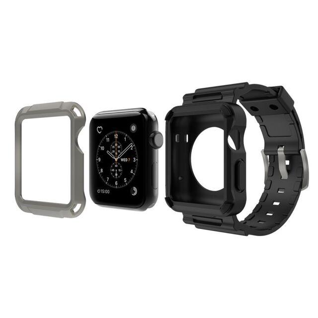 Simpeak Apple Watch 3 Band Grey Rugged Protective Case W Black Strap Bands 42mm For Sale Online Ebay