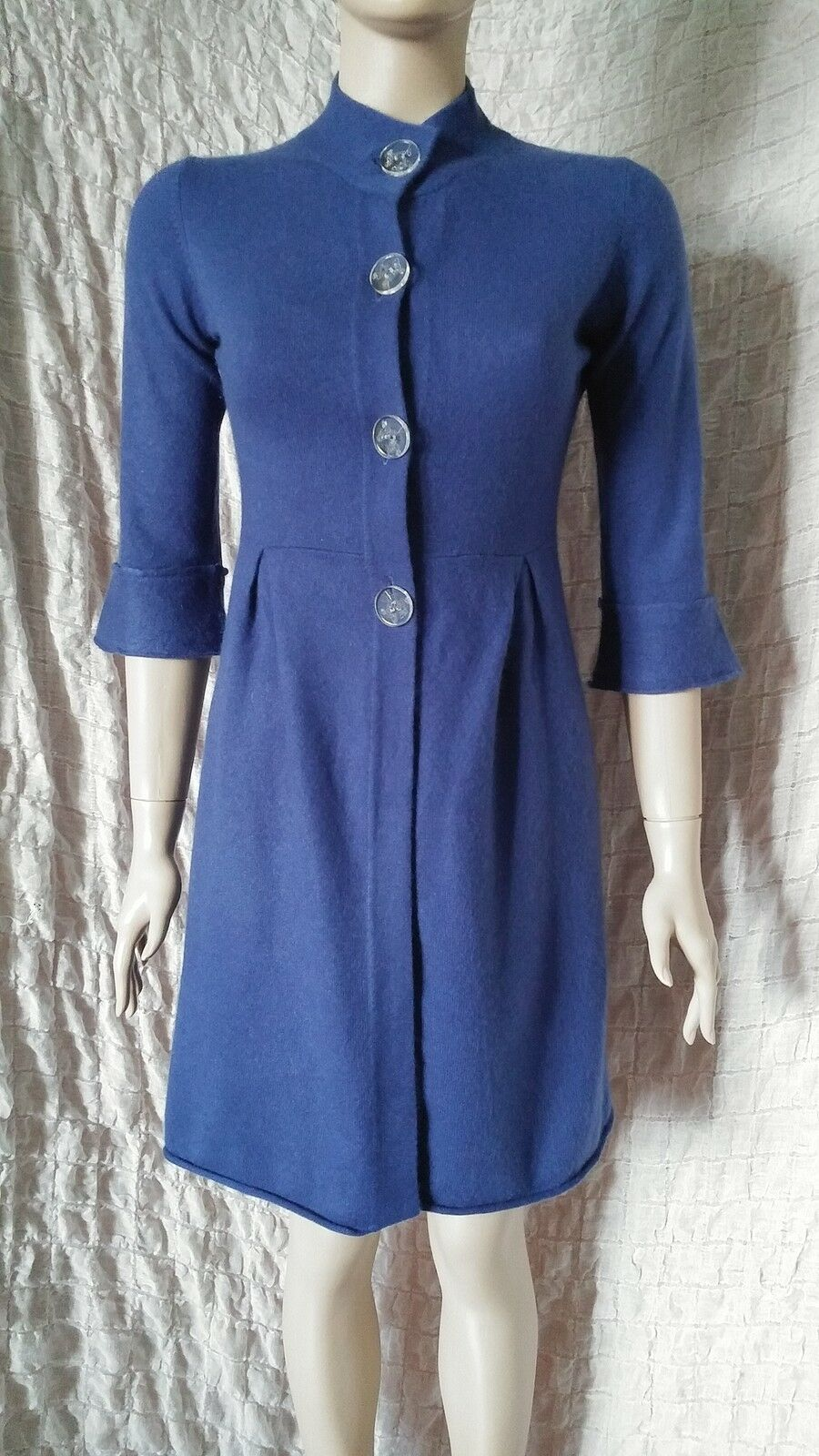 FTC 100% cashmere royal bluee longline cardigan dress size S