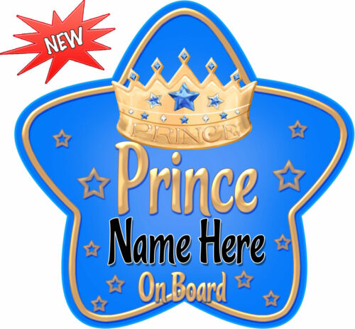Personalised Star Shaped Baby On Board Car Sign Light Blue /& Gold Prince ~ New!
