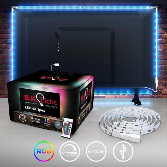 Ruban LED TV rétroéclairage télé connexion USB bande LED multi couleur RGB 2m