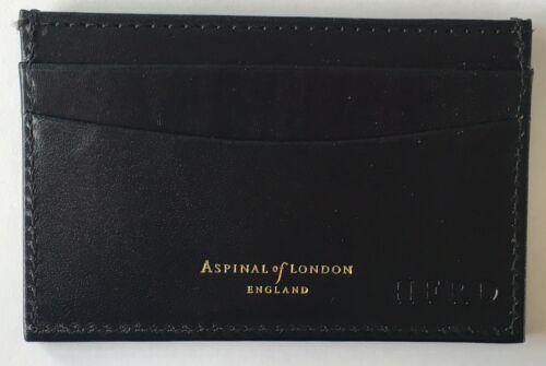 ASPINAL OF LONDON Slim carte de crédit en cuir noir lisse cas différents embossment.