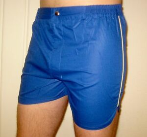 NEW-Vtg-70s-80s-Vanderbilt-BLUE-Striped-Mens-LARGE-Retro-TENNIS-Track-shorts-NOS