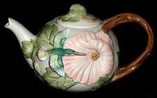 Fitz and Floyd Hummingbird Hibiscus Teapot  48 Oz. 1987